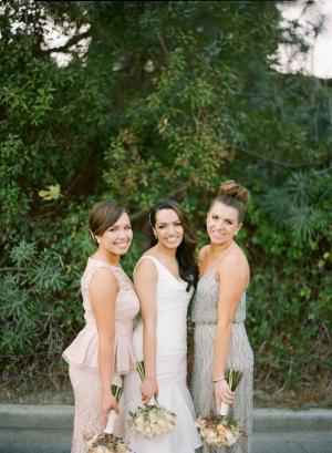 Blush and Silver Bridesmaids