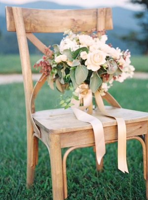 Bouquet on Rustic Chair