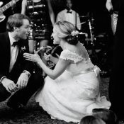 Bride and Groom Dancing With Tambourine