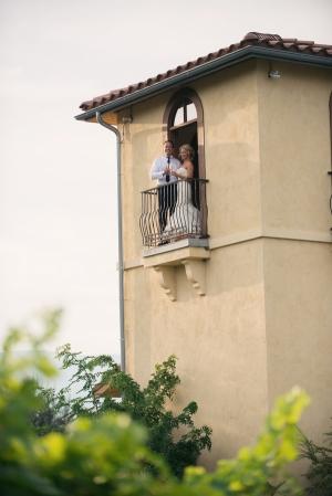 Bride and Groom on Juliet Balcony