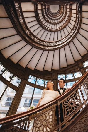Bride and Groom on Staircase
