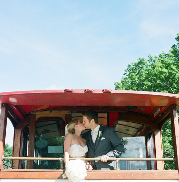 Bride and Groom on Trolley