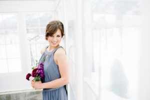 Bridesmaid in Slate Blue Gown