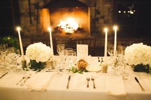 Candlelight and Hydrangea Reception Decor