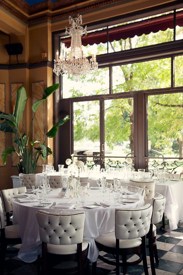 Chic Cafe Reception With Black and White Decor