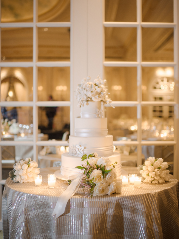 Classic Wedding Cake With Satin Ribbon