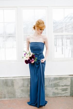 Deep Blue Silk Bridesmaids Dress