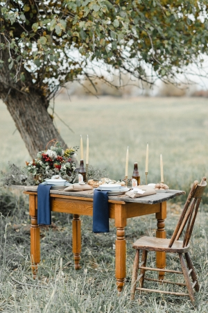 Elegant Rustic Outdoor Wedding Table