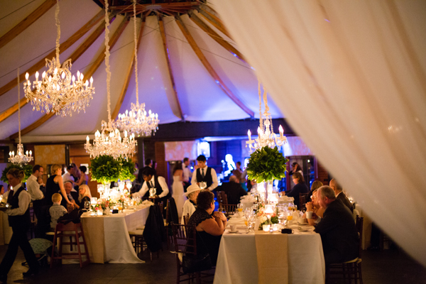 Elegant Tent and Chandelier at Reception