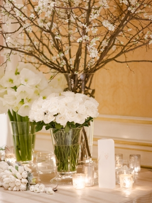 Escort Card Table with White Flowers
