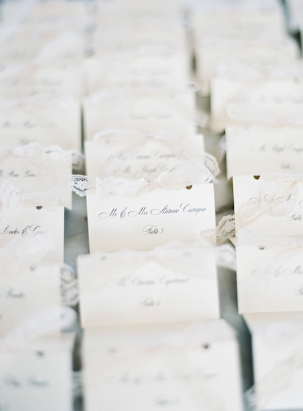 Escort Cards with Lace Ribbon
