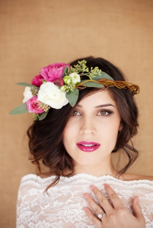 Flower Headpiece and Berry Lip