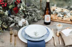 French Blue and Gold Place Setting