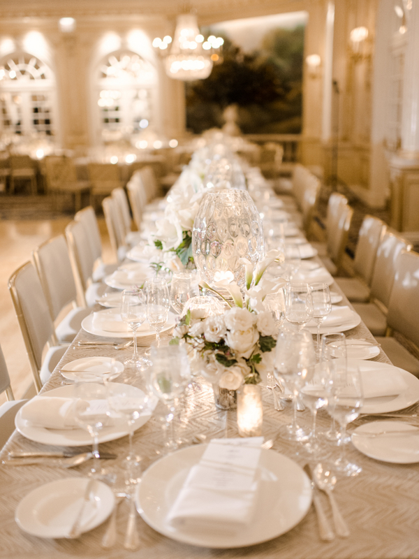 Gold Silver and White Reception Table
