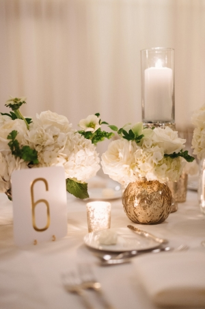 Gold Table Numbers Reception Decor