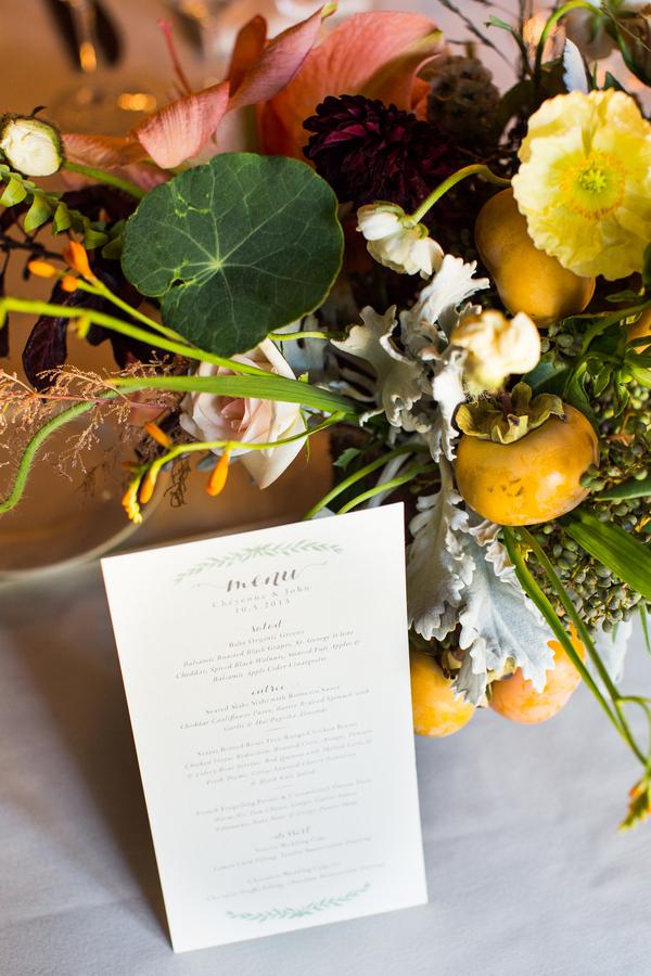 Gold and Green Garden Arrangement Reception Ideas