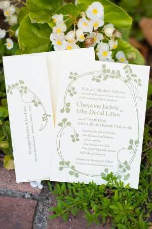 Green Floral Wedding Stationery