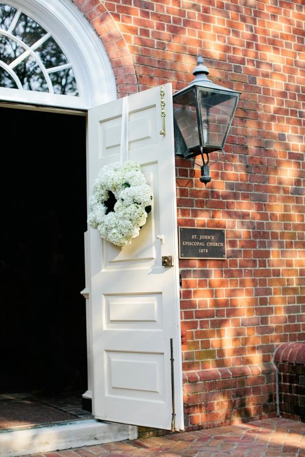 Hydrangea Wreath on Church Door