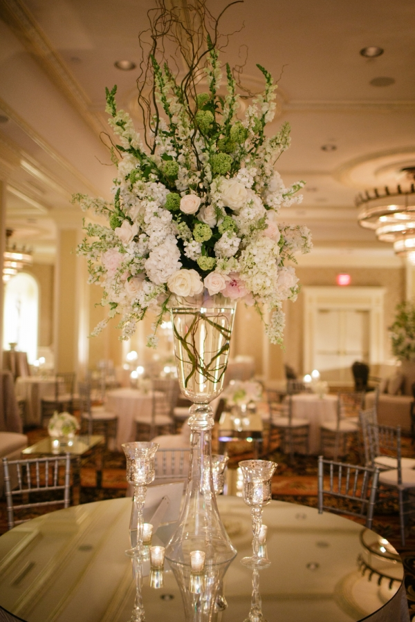 Hydrangea and Rose Topiary Reception Arrangement