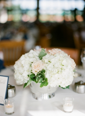 Hydrangeas and Roses in Silver Bowl