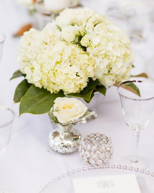 Hydrangeas in Silver Vase