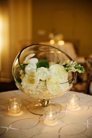 Ivory Flower Blooms in Glass Dome