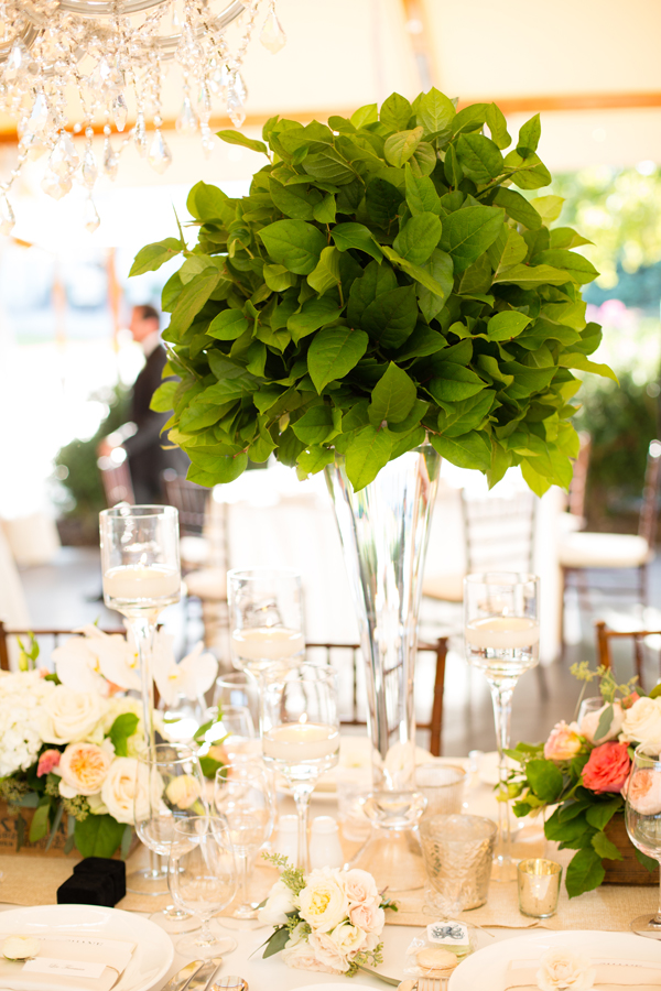 Grand tall green centerpiece with salals