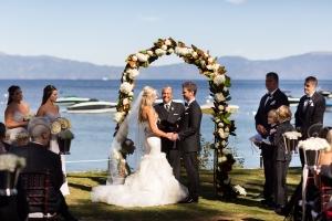 Magnolia and Hydrangea Arbor Waterfront Wedding Ceremony