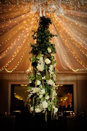 Magnolia and Hydrangea Topiary Reception Decor