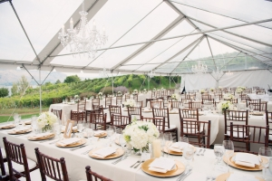 Outdoor Tent Reception With Chandeliers