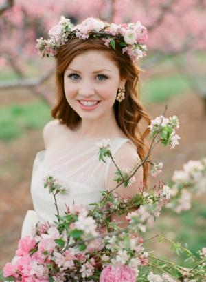 Peach Blossom Floral Crown