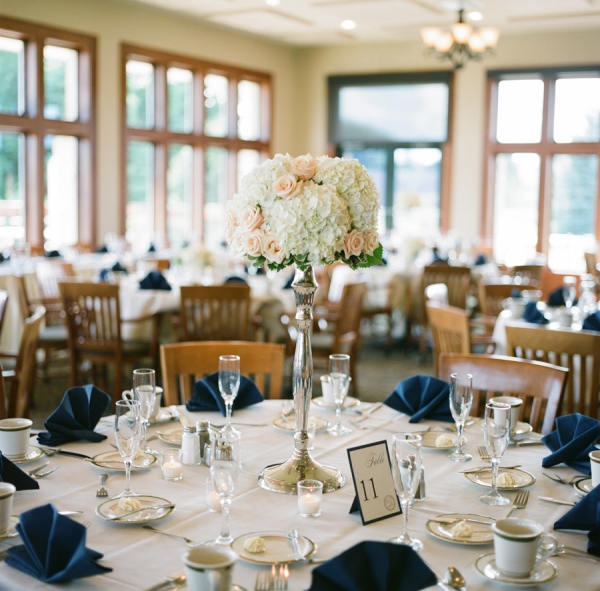 Peach and Navy Reception