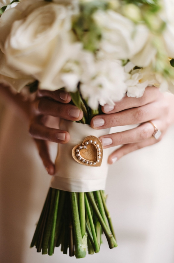 Pearl Heart Pin on Bouquet
