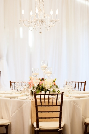 Pink Cream and Green Reception Decor