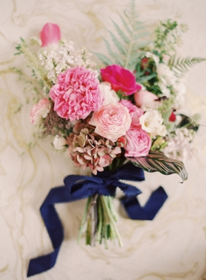 Pink Wedding Bouquet with Blue Ribbon