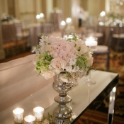 Pink and Green Florals in Silver Vase