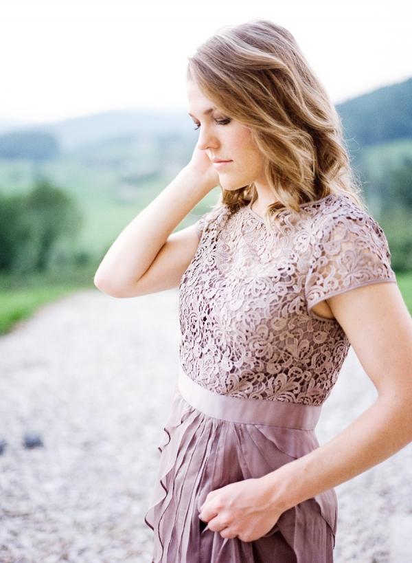Pleated Lavender Bridesmaid Dress
