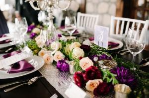 Purple Floral Runner Centerpiece