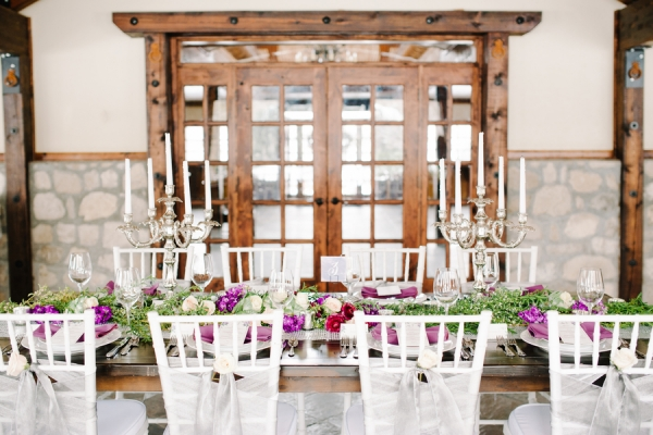 Purple Green White Wedding Tabletop