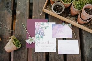 Purple Watercolor Wedding Invitations