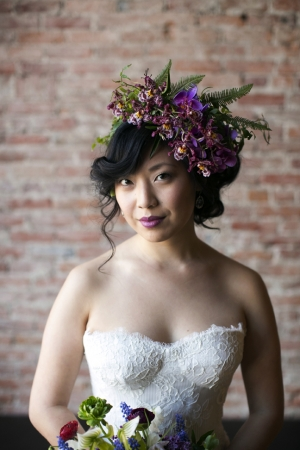 Purple and Green Floral Crown