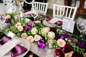 Purple and Ivory Centerpiece