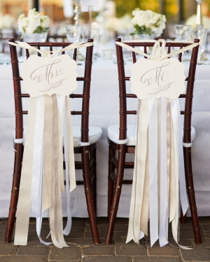 Ribbon Streamers on Reception Chairs