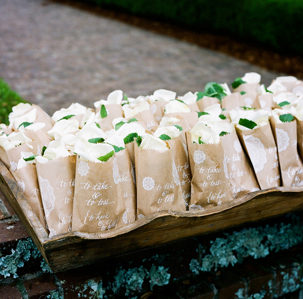 Rose Petals in White Calligraphy and Kraft Paper Bags