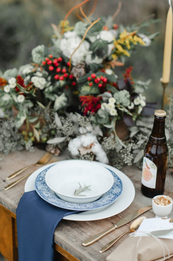 Rustic French Blue and Red Wedding Table
