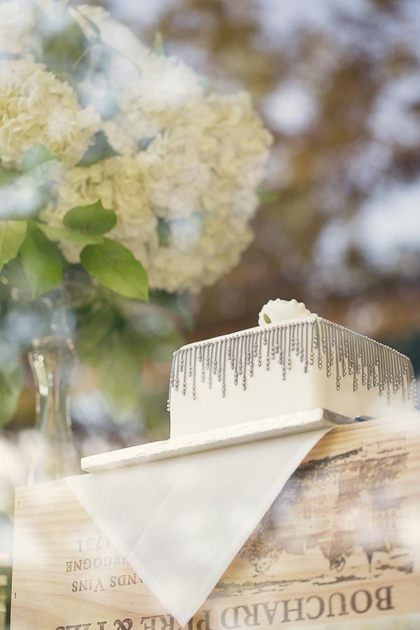 Silver Beaded Wedding Cake