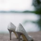 Silver Lace Bridal Heels