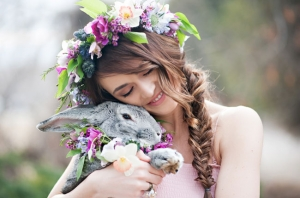 Spring Floral Crown and Bunny