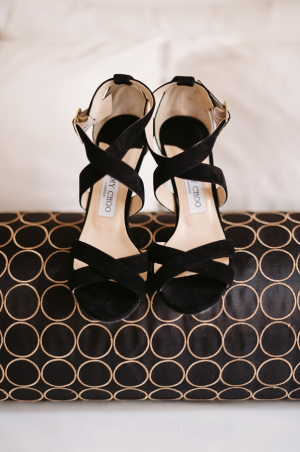 Strappy Black Bridal Shoes
