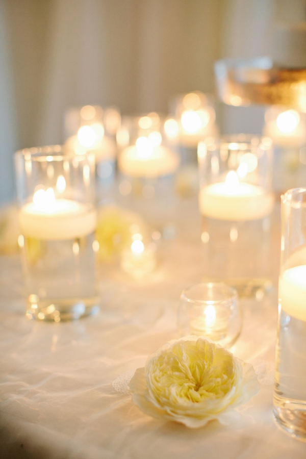 Tall Floating Candles Reception Decor
